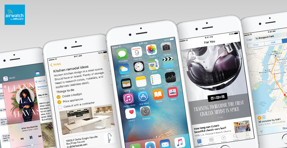 AirWatch provides support for iOS 9 device management