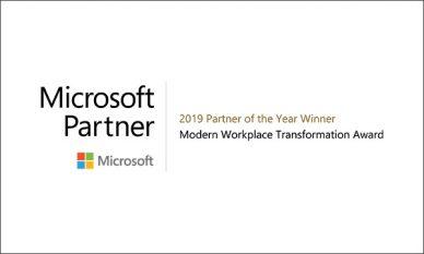 Microsoft 2019 Partner of the year winner - Moder Workplace Transformation Award