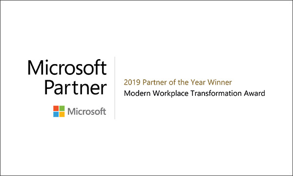 Microsoft 2019 Partner of the year winner - Moder Workplace Transformation Award
