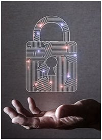 Open palm holding a security padlock