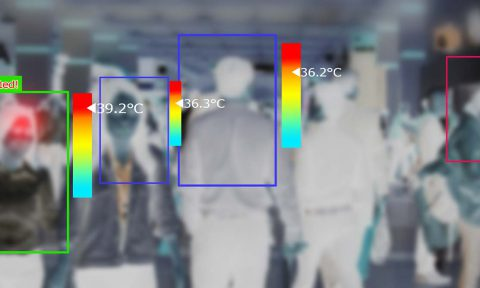 Thermal imaging camera detecting temperature of a crowd