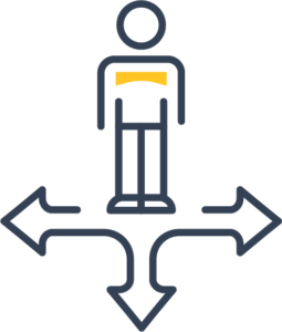 Icon of a person with arrows pointing multiple directions