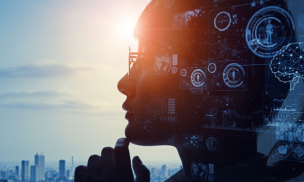 Image of a woman looking out over a city with automation and AI icons overlaid