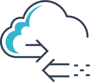 Icon of a cloud with two arrows crossing over