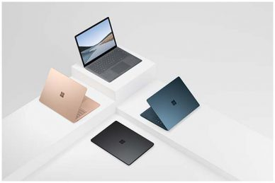 Images of the Surface Laptop 3 in four different colours