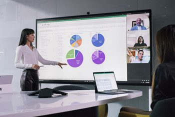 """Two people having a meeting using a Surface Hub S2 85"""""""