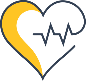 Icon of a heart with a heart rate within it