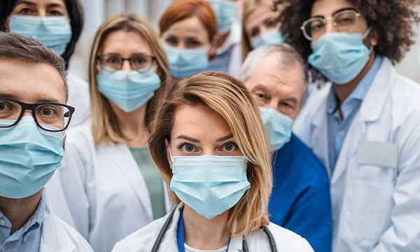 Group of Healthcare professionals all waring face masks