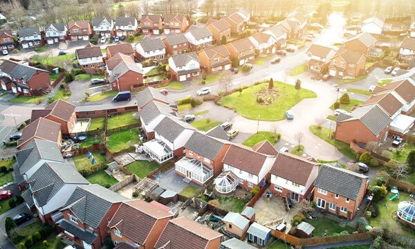Aerial view of a UK housing estate