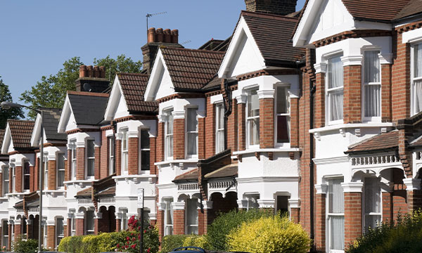 Row of Typical English Terraced Houses in London.