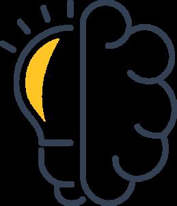 half brain half light bulb Icon