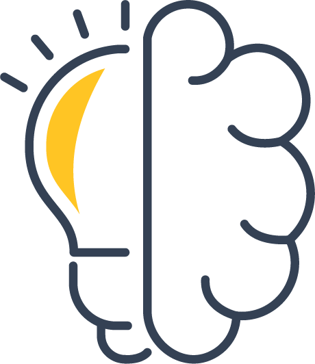 Icon of half a brain and half a light bulb joined together