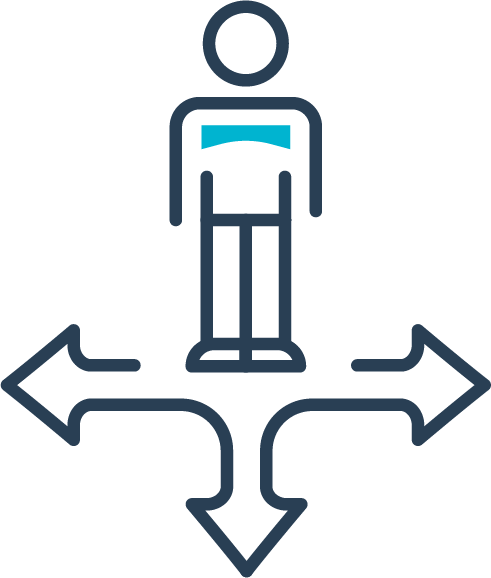 Icon of a person with arrows pointing in different ways