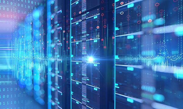 A modern datacenter with a data overlay