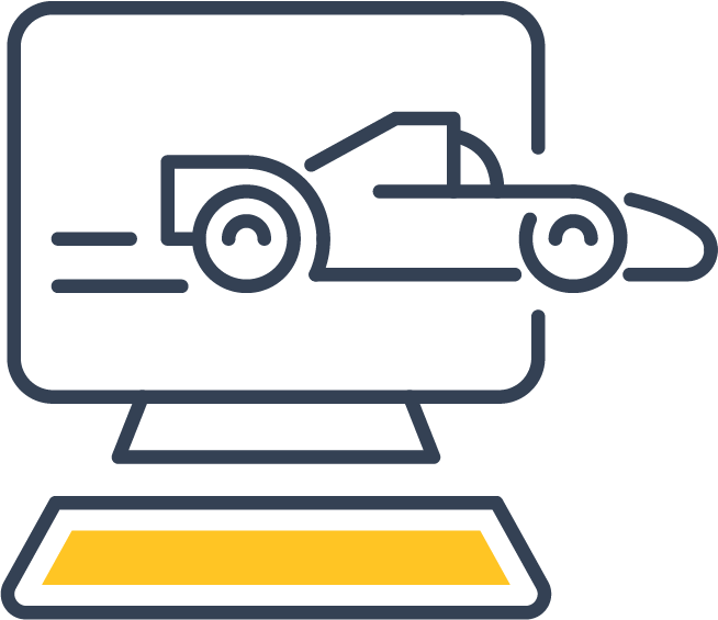 icon of a computer with a racing car coming out of it