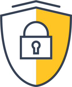 Icon of a shield with a secure padlock in th middle