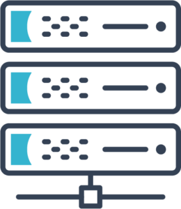 Icon of three servers connected together