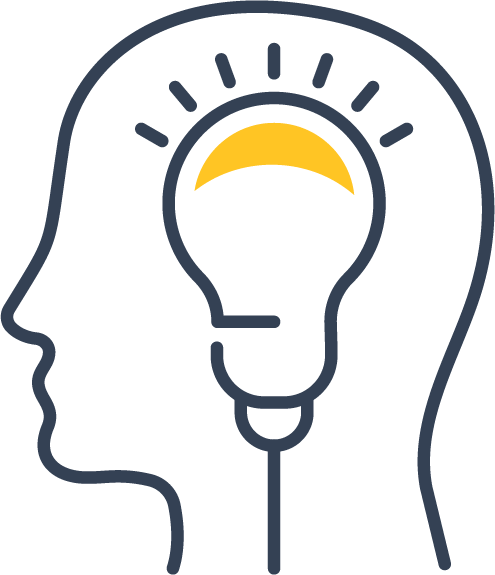 Icon of a head with a lightbulb inside