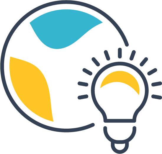 Icon of a lightbulb over circle