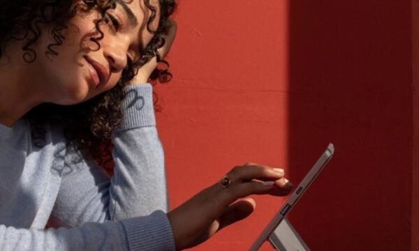 women on surface device