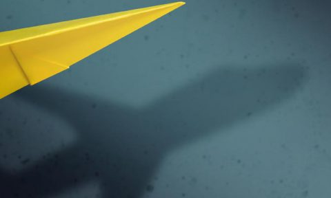 Paper areoplane with shadow or a jumbo jet