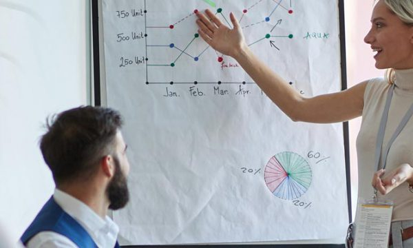 Team of business people reviewing stats on whiteboard