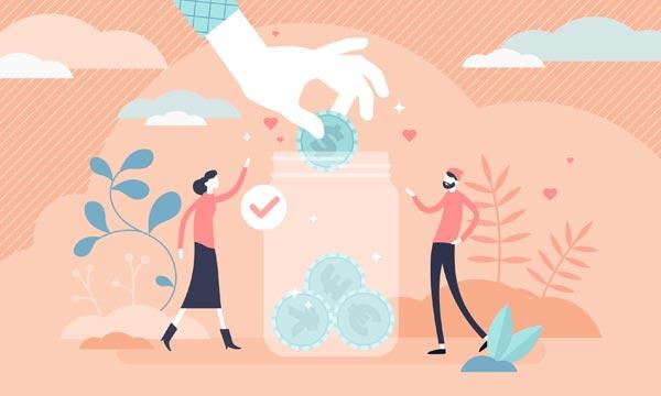 Illustration of people donating money