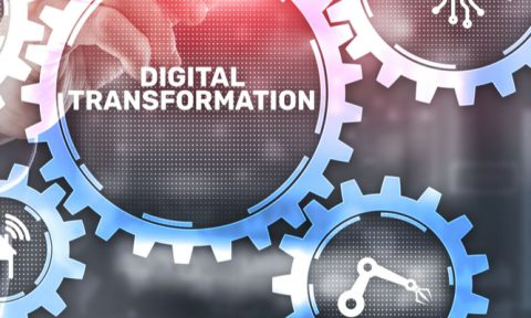 Graphic showing the words 'digital transformation' inside a cog with a person pointing towards it